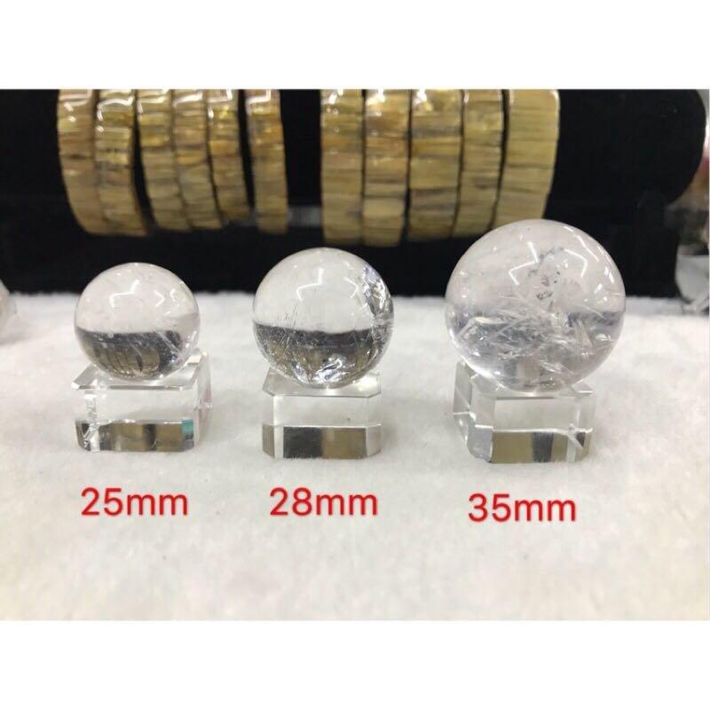 天然 白水晶球 風水球 供佛 附贈k9玻璃底座