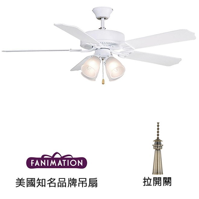 Fanimation Aire Decor 52英吋吊扇附燈(BP210MW1)平白色 適用於110V電壓