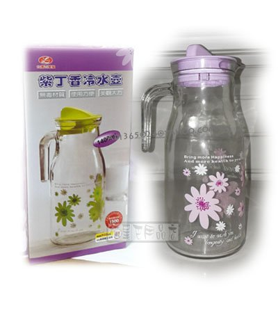 【貓尾巴】紫丁香冷水壼 玻璃瓶 綠色.紫色.藍色三款 1400ML 紫色款 區