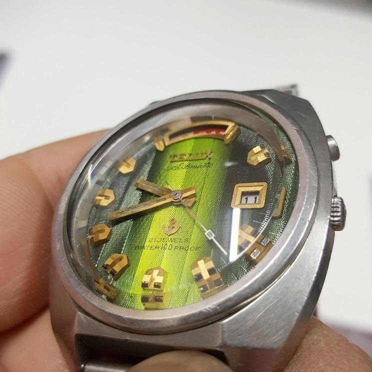 實心錶帶☆青蛇紋☆漸層綠☆開天窗☆日本 TELUX 3.7/19 極品 鐵力士 機械錶 男錶 已保養 Z2
