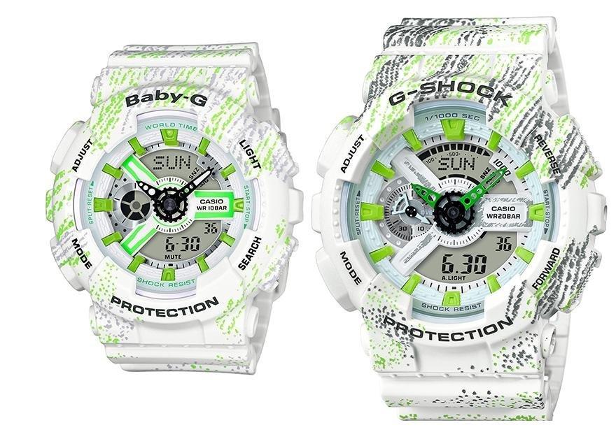 CASIO卡西歐G-SHOCK BABY-G紋理霧狀蠟筆紋路黑色 GA-110TX-7A  BA-110TX-7A 對錶