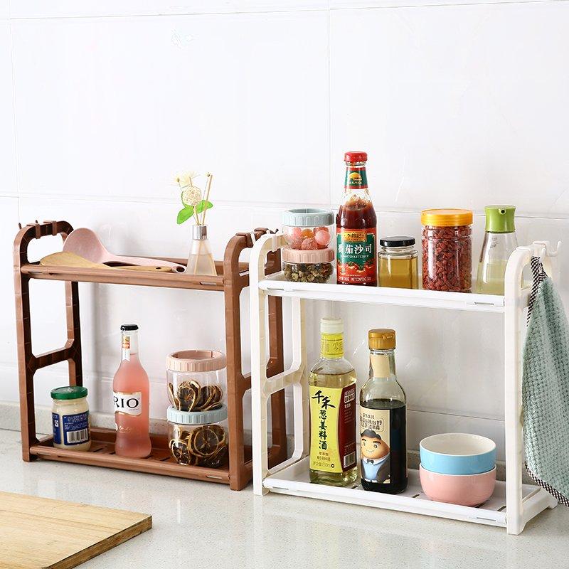 居家日用二期!!!家用雙層廚房置物架調味料收納架 落地塑料刀架調料架調味品架子