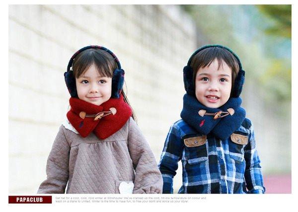 HH婦幼館 兒童英倫時尚帶木釦保暖圍脖/圍巾(藏青/酒紅)【2D115C0406】