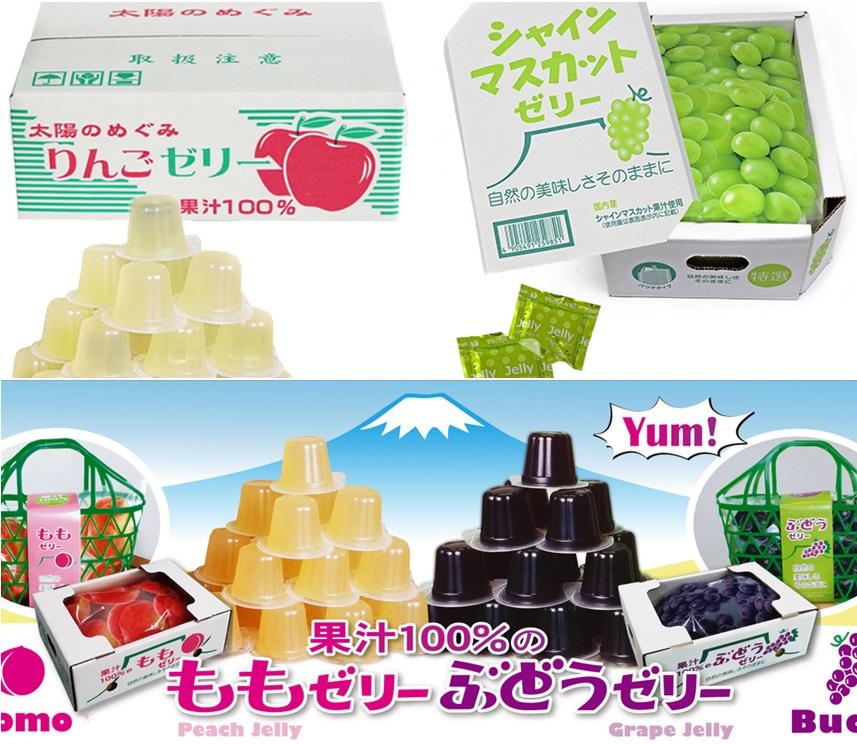 +東瀛go+ 寶石果凍 AS食品 100%果汁果凍 蘋果/水蜜桃/白葡萄/葡萄 箱裝水果果凍 日本原裝 年貨 拜拜