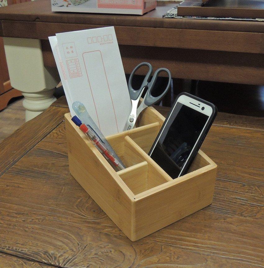 竹製收納盒 四格多 收納盒 信插、筆筒、置物盒、遙控器收納 小物收納 筆插 信件收納 文具收納 手機架 書桌收納