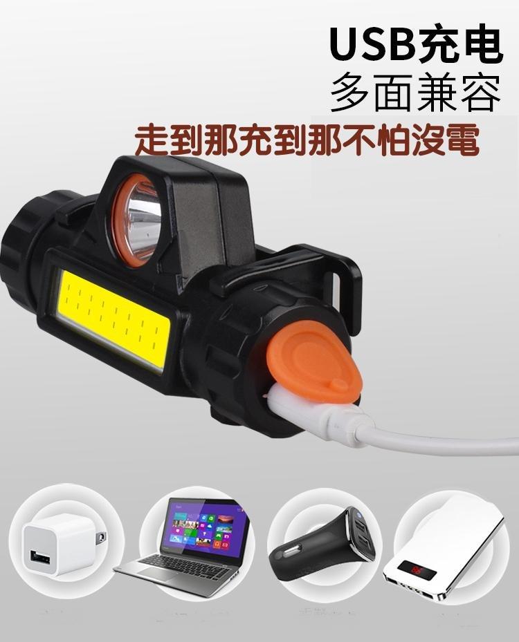 423~2019 多 頭燈 cob工具燈 usb充電頭燈 戶外應急手電筒登山露營汽車維修