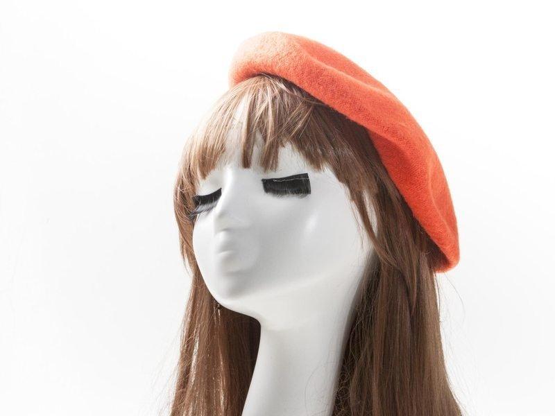 [幸福二次方] 英倫復古風貝蕾帽 畫家帽 羊毛帽 仕女帽 成人款 橘紅 FA-34481