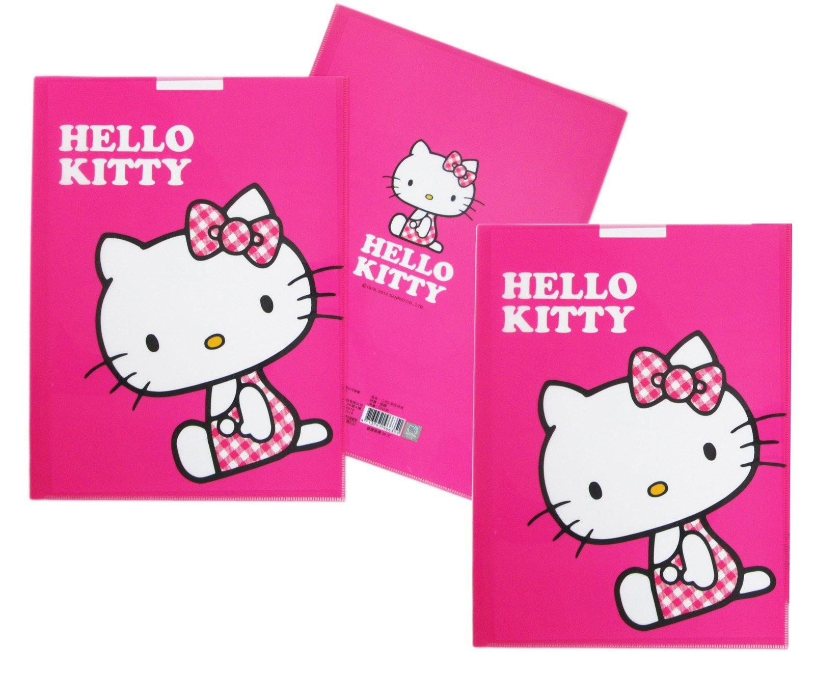 【卡漫迷】 Hello Kitty U字型 資料夾 三個一組 桃紅 ㊣版 文件夾 檔案夾 製