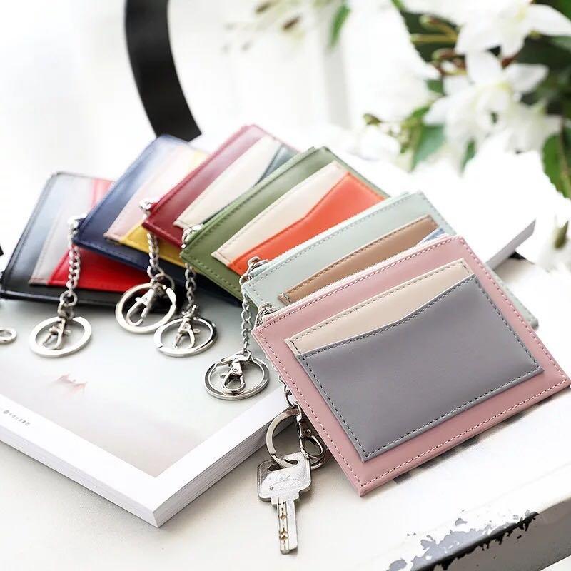 小卡包 女式韓國可愛 迷你潮薄 卡套夾 撞色鑰匙扣錢包