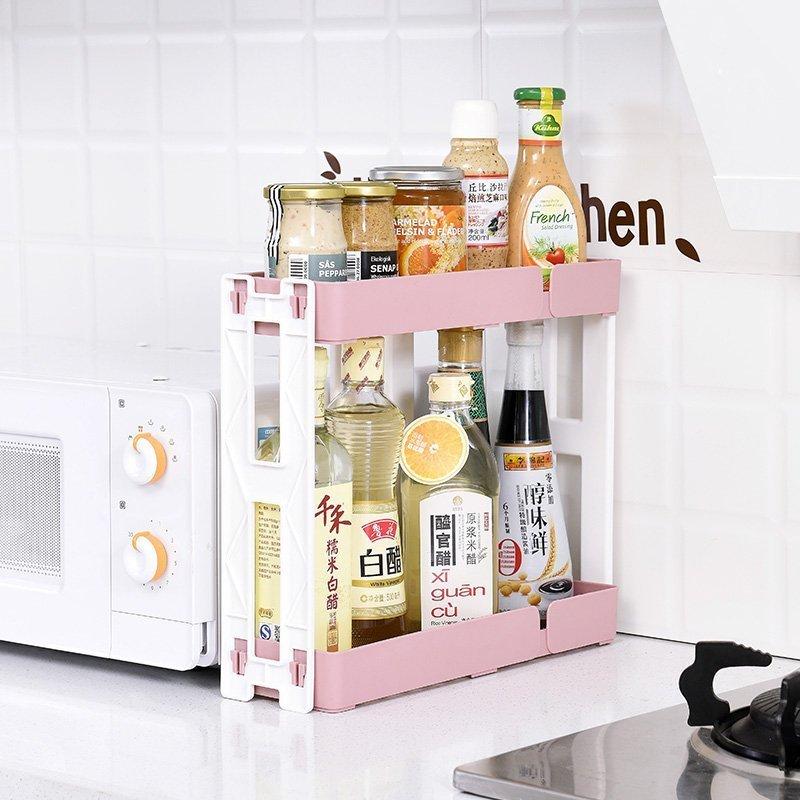 小姐姐『居家』雙層長方形調料架置物架廚房用品多 落地架子收納架