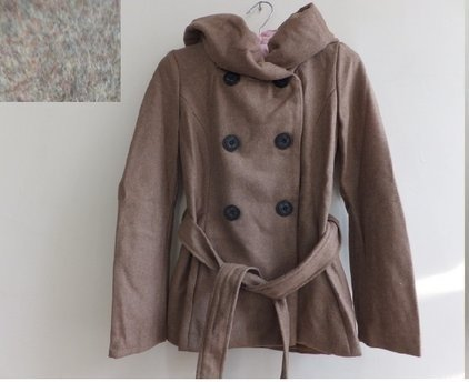 Doremi 秋冬 氣質 淑女 花苞領 大連帽 雙排釦 綁帶顯瘦 大衣/ 外套-F號-卡其健素糖-新- 附腰帶