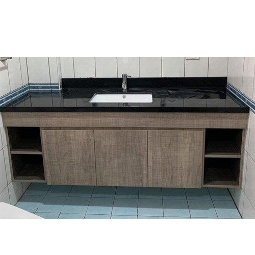 訂製浴櫃 韓國人造石台面 方型下崁盆 木紋美耐門板 隱藏把手 成舍衛浴 訂做