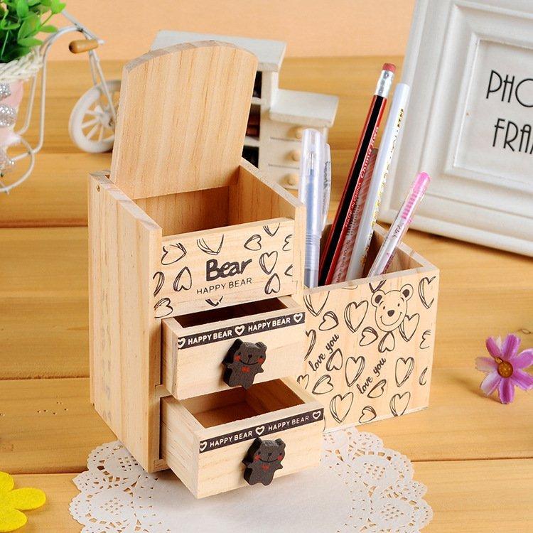 『肥仔小窩』歐風 木製 原木 愛心熊 小熊 雙抽屜 筆筒 文具 擺飾 桌上小物 超有 桌上收納