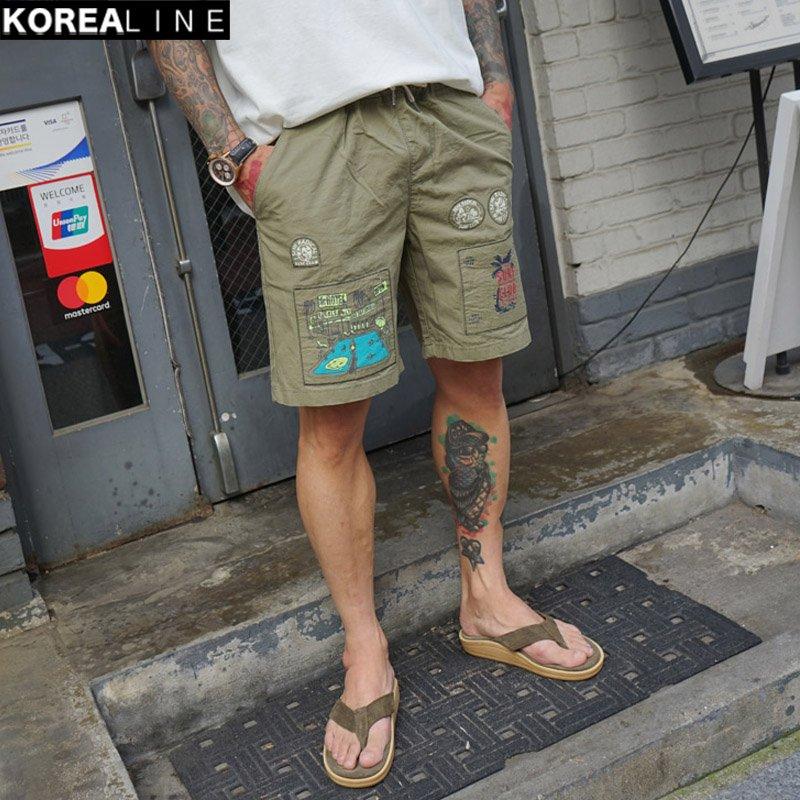 KOREALINE搖滾星球 / 衝浪印刷拼接抽繩短褲 / 5色 / KS11136