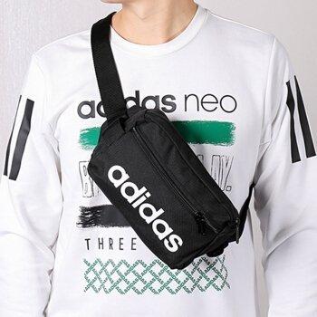 【Dr.Shoes 】Adidas Linear Core Bag 黑 白Logo 隨身包 腰包 側背包 DT4827