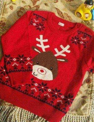 Joe's Kids   Cakes shop~男女小童棉針織衫聖誕麋鹿,衣長38cm,適90cm寶貝