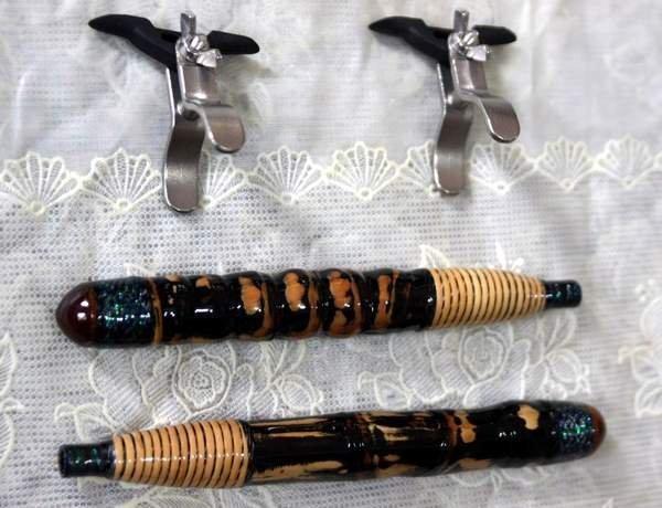 全新 純手工竹製龍蝦竿握把專用白鐵竿架(1組2個)