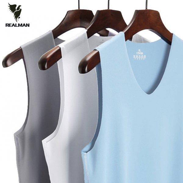 Realman男裝店 ~ 男士薄款無痕背心V領冰絲修身無袖t恤 ~t恤背心短袖長袖襯衫馬甲外套上衣