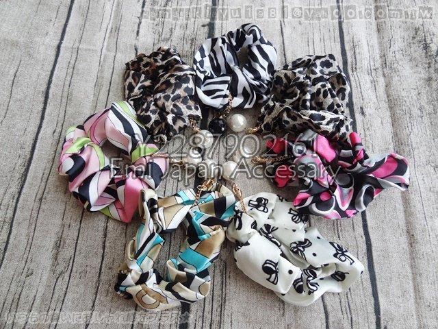 emi ☆ 帶回彩色豹紋蝴蝶結條紋系列珍珠髮束 多款可選 每款 100