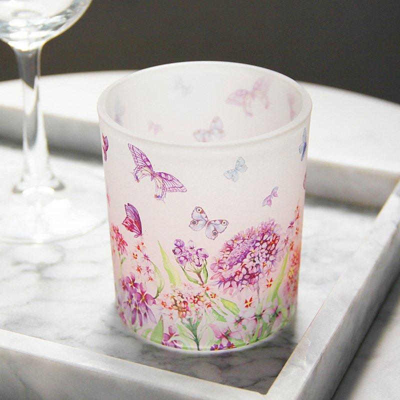 熱銷#浪漫紫色蝴蝶印花玻璃燭臺裝飾擺設DIY香薫蠟燭空杯送電子蠟#燭臺#裝飾