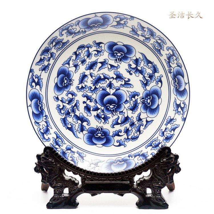 中式傳統吉祥圖案掛盤裝飾品坐盤陶瓷器  聖潔長久 開心陶瓷119
