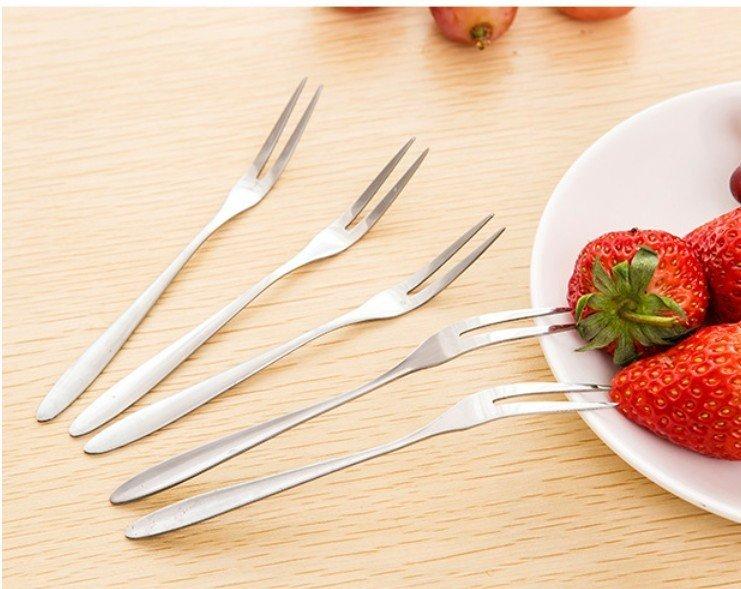 ☆╮布咕咕╭☆不鏽鋼二齒水果叉 沙拉西餐點心叉子10入