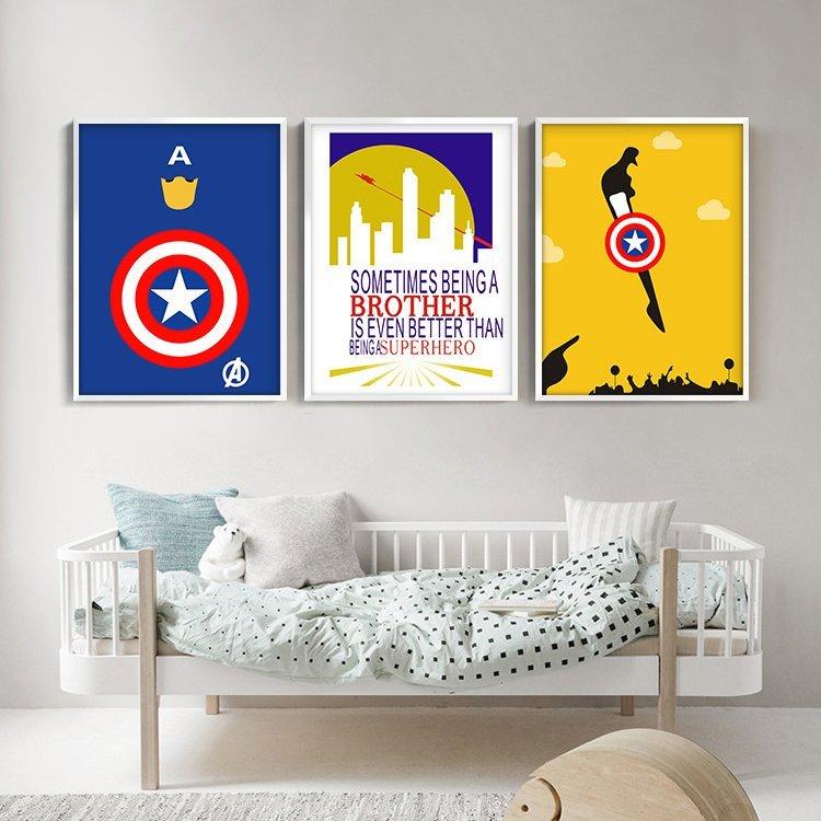 C - R - A - Z - Y - T - O - W - N 美國隊長掛畫 海報裝飾畫英雄人物電影掛畫床頭掛畫
