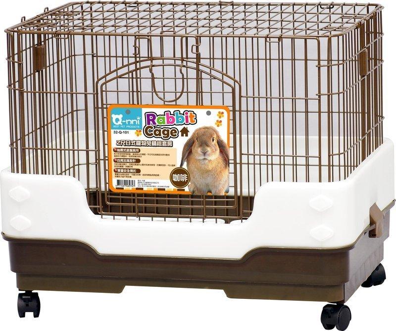 Qnni 2尺日式抽屜式寵物兔精緻套房 兔籠 貂籠 防噴尿室內籠 Q101(茶色款Q-101)每件2,080元