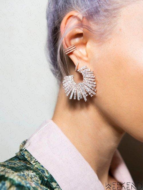【WEEKEND】 TALITA Star Struck 圓環 銀色 一對 耳環