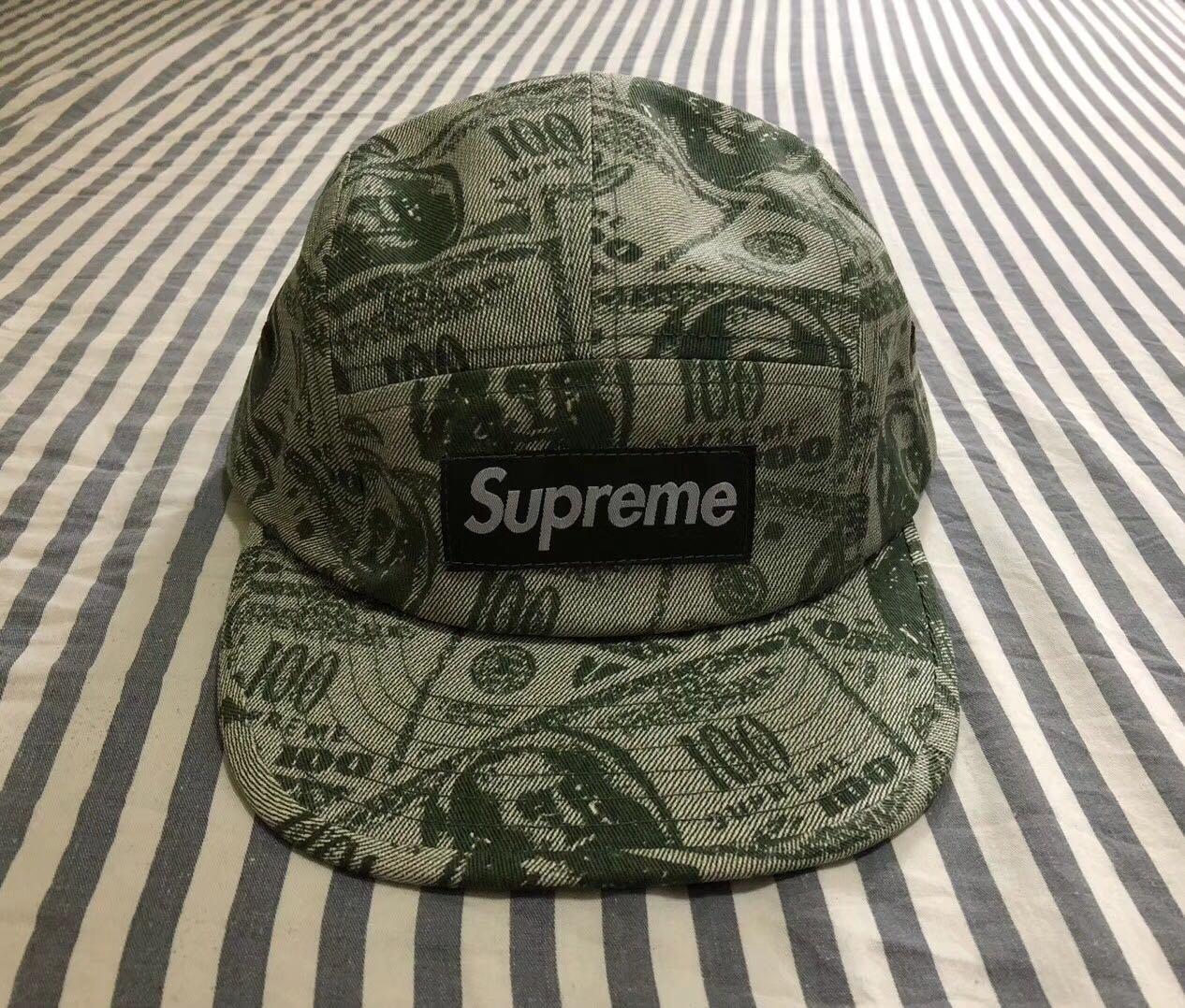 supreme 18SS box logo美金銀纸鴨舌帽子
