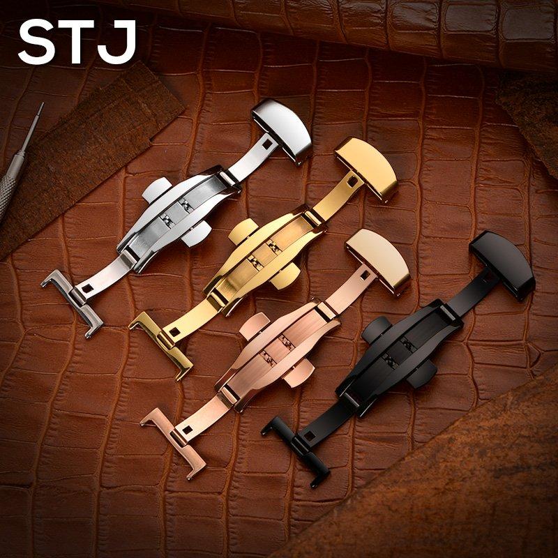 奇奇店-STJ 雙按蝴蝶扣不銹鋼代用通用手錶錶帶配件金色玫瑰金色黑色(型號不同價格不同請諮詢客服喔)