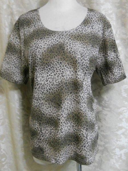 ~麗麗ㄉ大碼舖~大尺寸S-L(40-44吋)咖啡色豹紋圓領短袖彈性上衣~