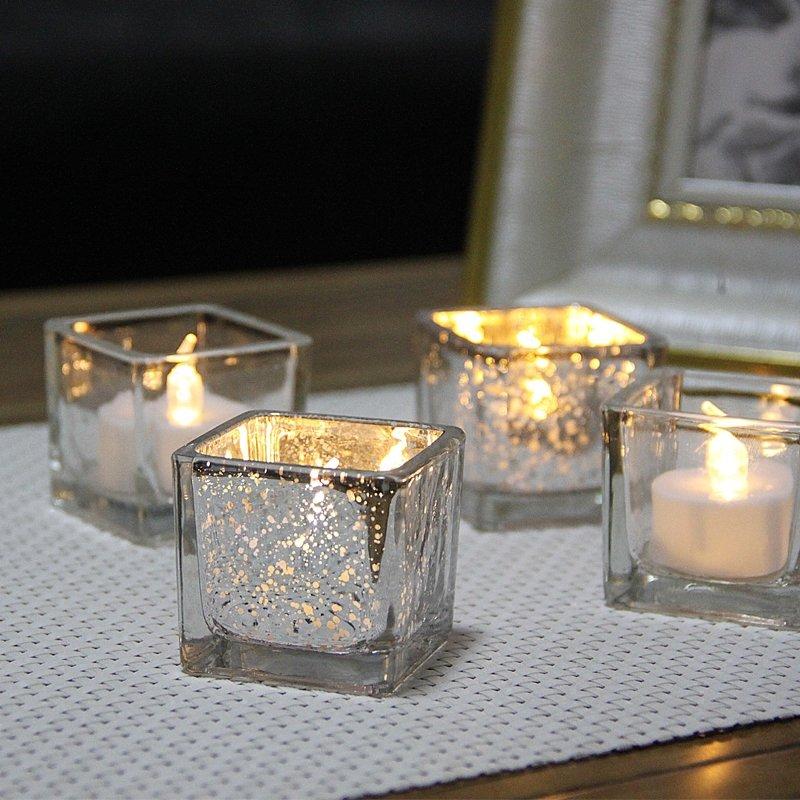 熱銷#簡約現代電鍍斑點方形玻璃燭臺浪漫燭光晚餐酒吧聚會擺件送電子蠟#燭臺#裝飾