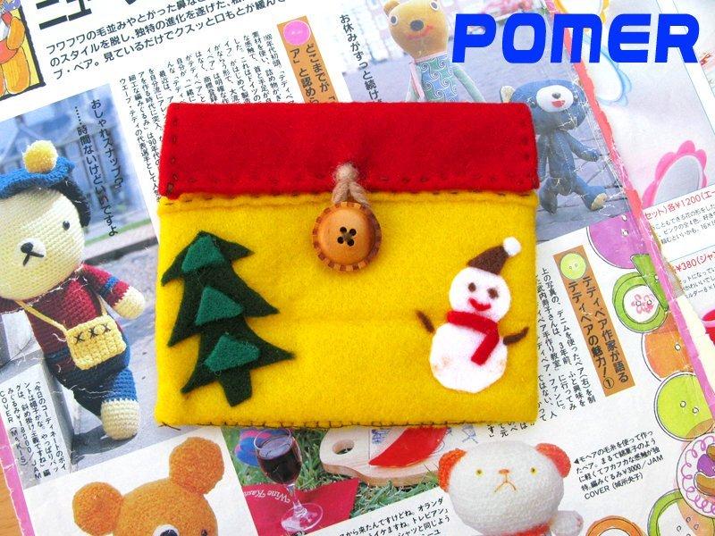 ☆POMER☆ 可愛雜貨小店 獨一無二純 手作 古著療癒童趣雪人聖誕樹鮮艷黃X紅 證件卡片收納包 萬用包 零錢包