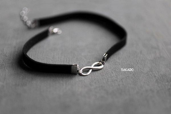 阪堂SAKADO- 麂皮頸鍊choker - 法式浪漫款 愛無限(古銀)