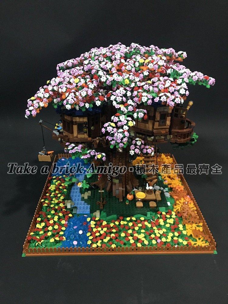阿米格Amigo│樹屋櫻花包 雙象6007 將牌S7304 櫻花+底板+燈條 不含積木 積木配件 散件非樂高21318