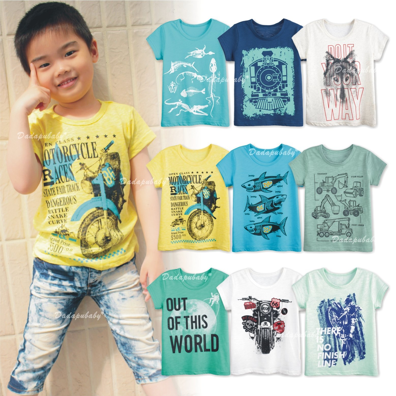 【達搭ㄅㄨˊ寶貝屋】~☆D10608大童竹節棉上衣 短袖 男童 印花 竹節綿 綿T 上衣 T恤 圓領 透氣