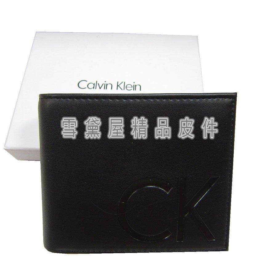 ~雪黛屋~CK 短夾國際  防水防刮皮革 尺寸內暗釦蓋式零錢袋送禮 附品牌證明品牌 K2274