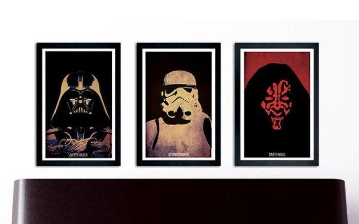 ART。DECO 星際大戰 黑武士 白武士 尤達 掛畫 電影裝飾畫