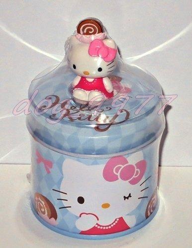 Sanrio正品 HELLO KITTY巧克力派對3代鐵罐 公仔底有磁鐵 7-11藍色置物盒收納罐 甜點蛋糕點心擺飾