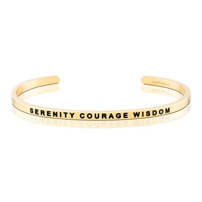 MANTRABAND 美國悄悄話手環 Serenity Courage Wisdom 金色手環