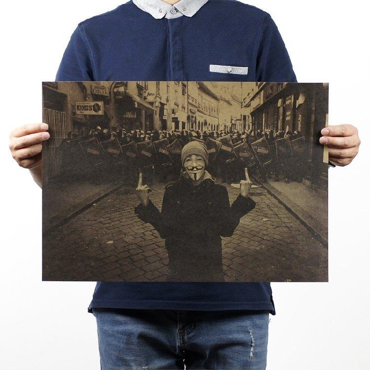 【貼貼屋】V怪客 V for Vendetta 電影 懷舊復古 牛皮紙海報 壁貼 店面裝飾  366