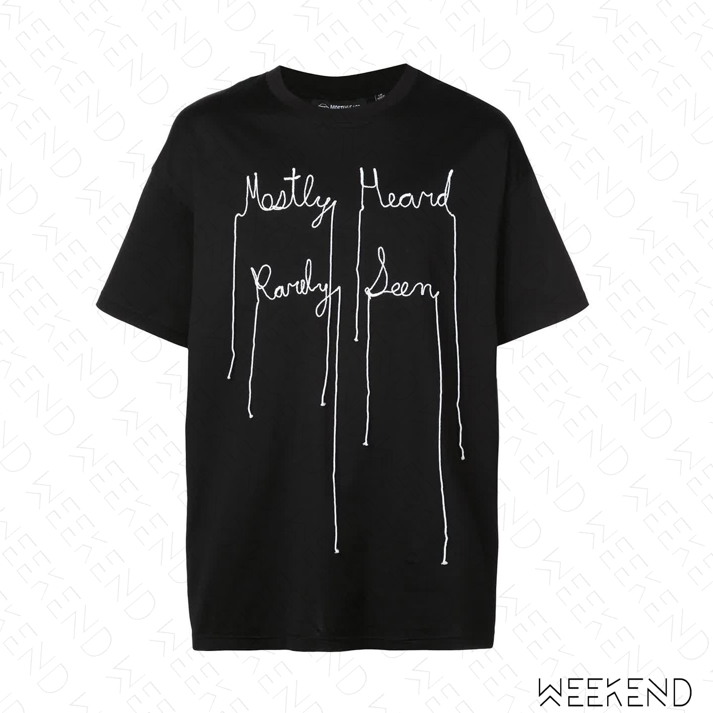 【WEEKEND】 MOSTLT HEARD RARELY SEEN MHRS 草寫文字 脫線效果 短袖 T恤 黑色