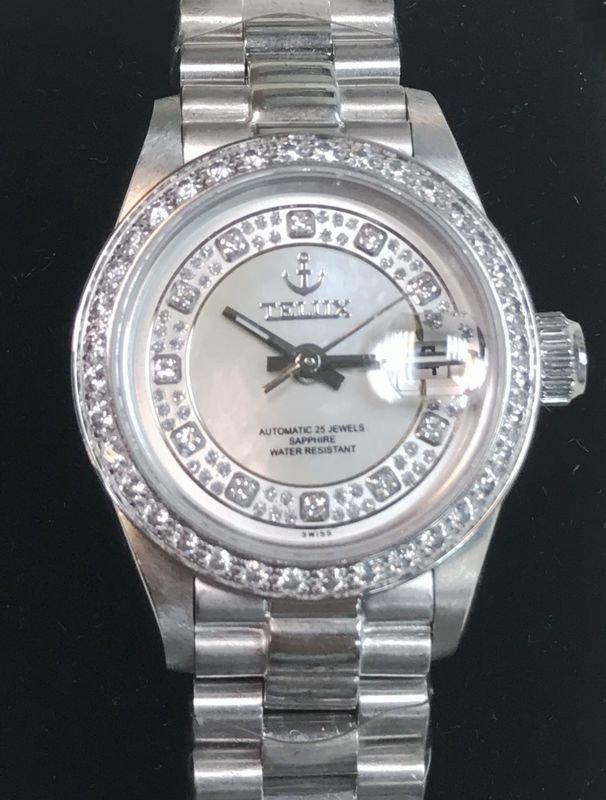 【神梭鐘錶】TELUX WATCH (瑞士自動上鍊eta2671機蕊)勞力士款高級星鑽圈珍珠貝殼面三珠女妝機械腕錶
