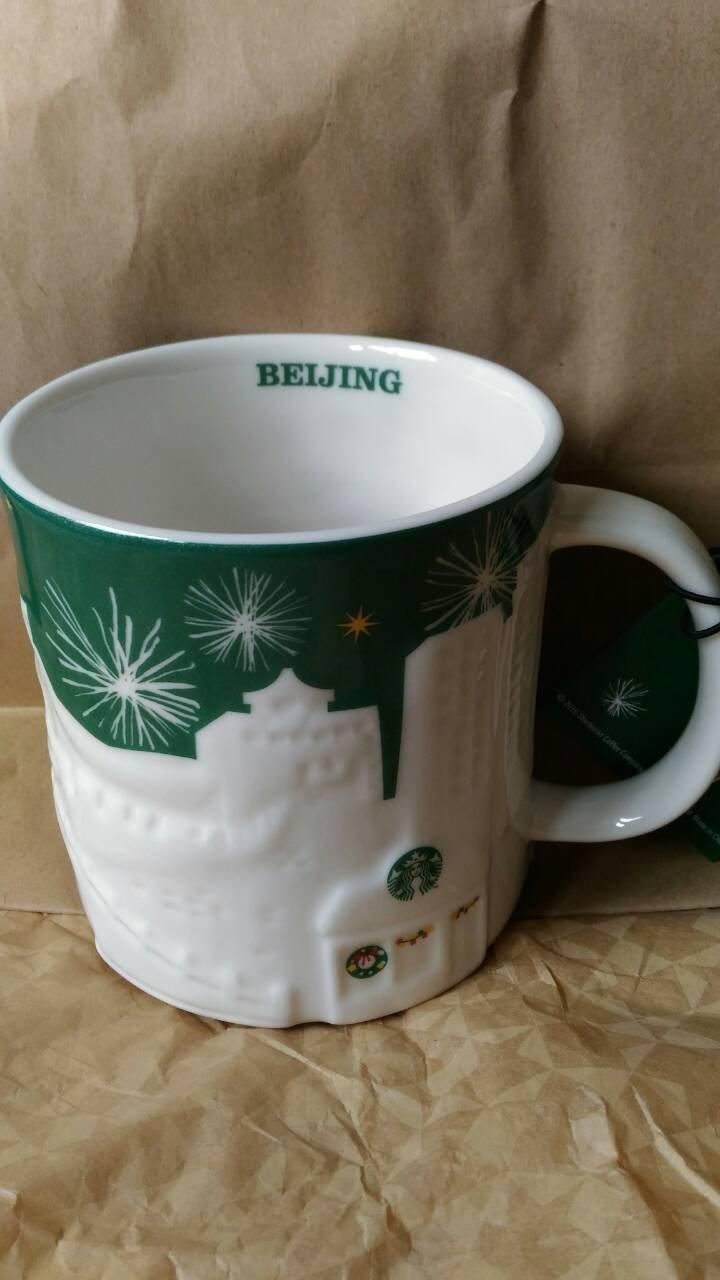 含 1580元~STARBUCKS星巴克咖啡2015綠光耶誕浮雕城市馬克杯-中國北京BEIJING-16oz~絕美絕版