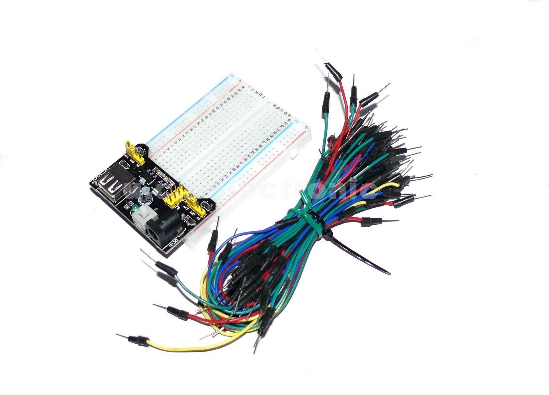 【UCI電子】 400孔 麵包板 + 麵包板 電源模組 + 65條麵包板連接線 三件組