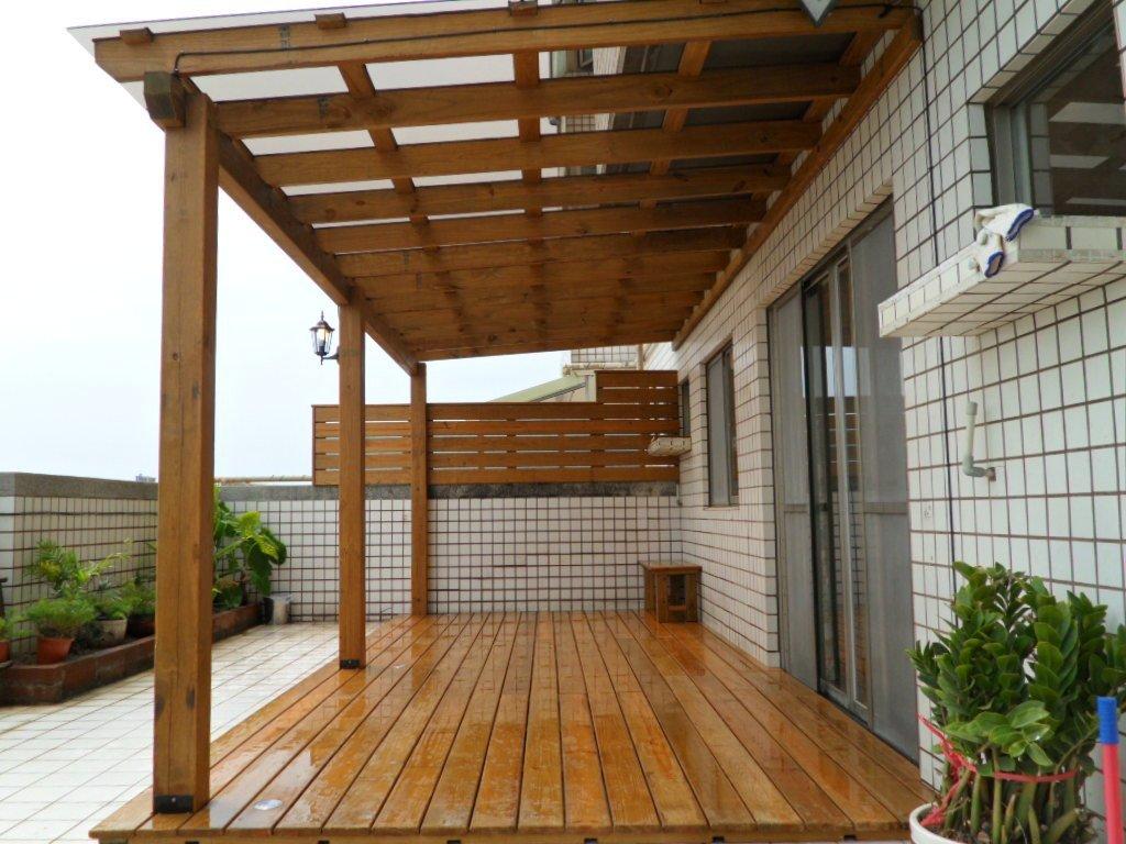 南方松 採光罩 遮雨棚 雨遮 遮陽棚 木棚架 陽台 露台 屋頂 庭院【園匠工坊】免費到府估價