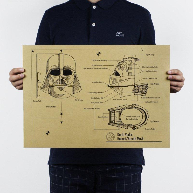 【貼貼屋】星際大戰 Star Wars 黑武士 維達 懷舊復古 牛皮紙海報 店面裝飾 電影 718