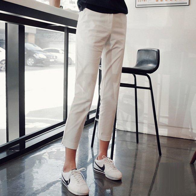 九分褲 好質感 專櫃品質 親膚乳白色彈力側開叉高腰西裝褲小腳褲鉛筆褲 艾爾莎【TAE8586】