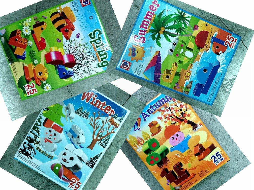 春夏 四季積木(四款)可 拼圖 25塊 大顆粒 可與樂高積木相容 幼兒兒童桌遊 益智玩具-蜜黑皮